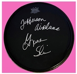 Jefferson Airplane: Grace Slick In-Person Signed 12-Inch Black Remo Drumhead (Beckett/BAS Guaranteed)
