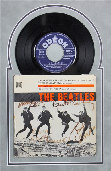 The Beatles Ultra Rare Vintage Group Signed She Loves You/Twist & Shout French 45 RPM Record in Custom Display (Beckett/BAS)