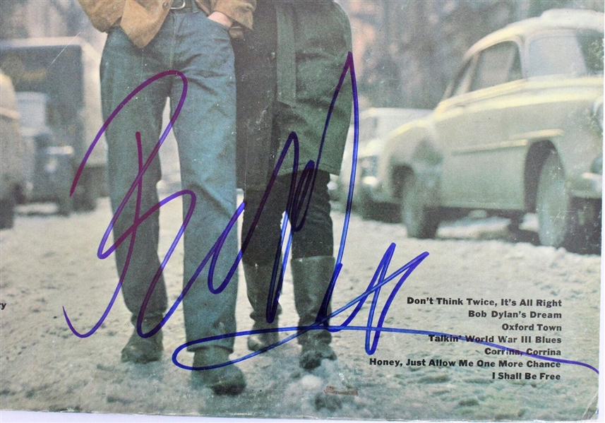 Bob Dylan Spectacular Signed The Freewheelin' Record Album Cover (Beckett/BAS)