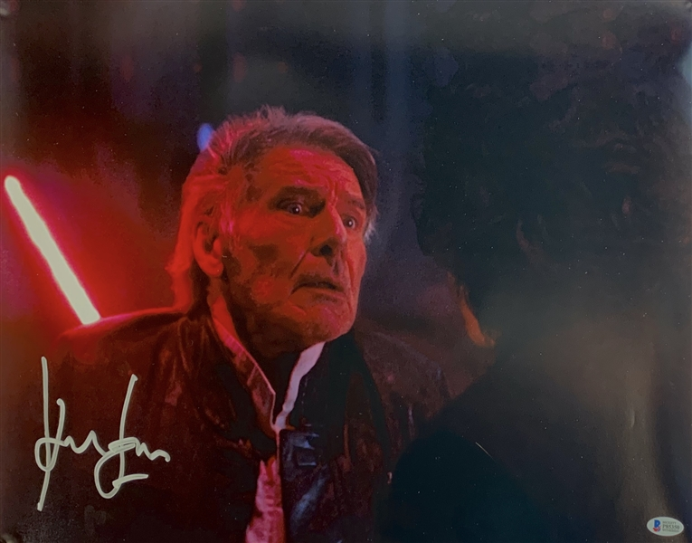 Star Wars Episode VII: The Force Awakens Harrison Ford Signed 16 x 20 ULTRA-RARE Death Scene Color Photograph (Beckett/BAS)