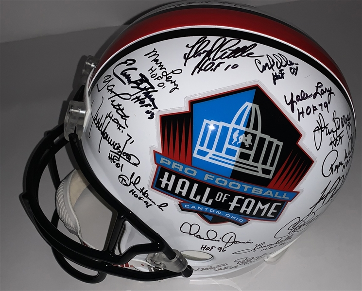 NFL HOF Legends Multi-Signed Full Size Replica Helmet w/ 30+ Signatures ! (JSA)