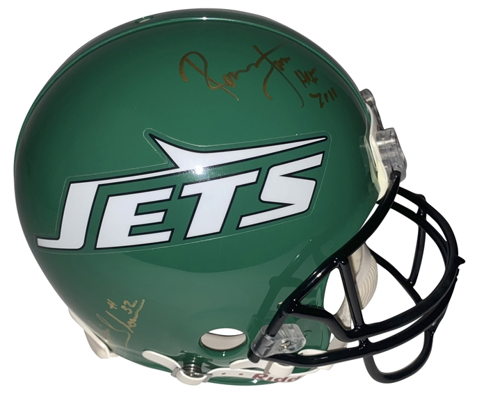 Ronnie Lott & Blair Thomas Signed PROLINE New York Jets Helmet (JSA)