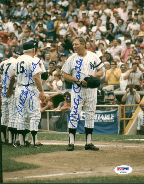 Yankee Greats Signed 8 x 10 Photograph w/ Mantle, Ford & Arroyo! (PSA/DNA)