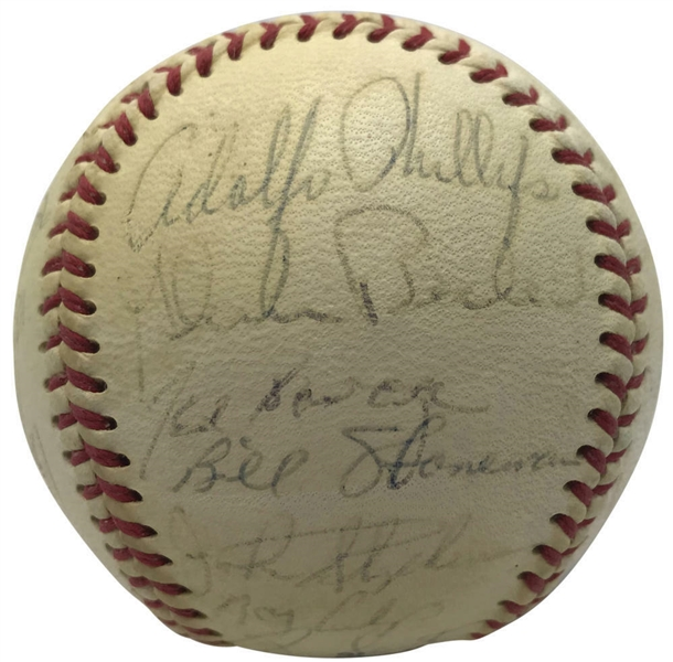 1967 Chicago Cubs Team Signed ONL Baseball w/ Banks, Santo & Others - PSA/DNA NM 7!