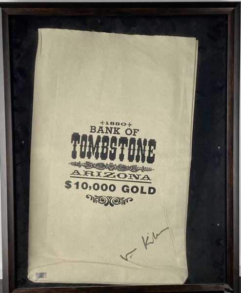 Val Kilmer signed Tombstone Bank Prom Style Money Bag (Beckett/BAS Guaranteed)