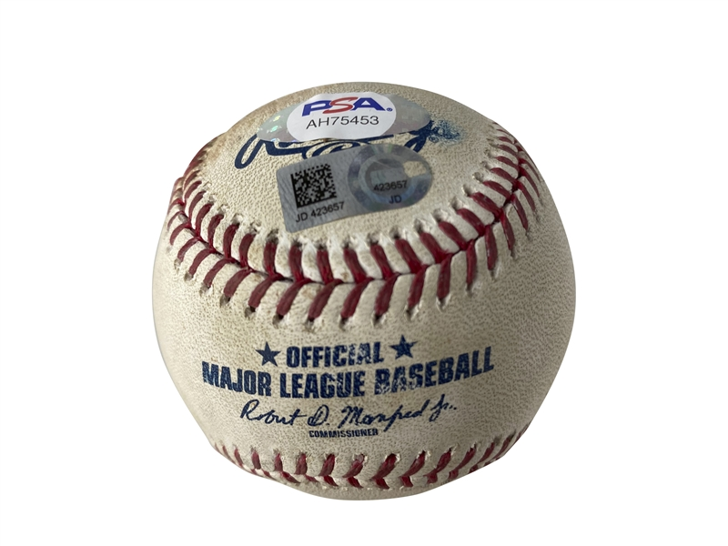 Kris Bryant Signed & July 24, 2019 Game Used OML Baseball Pitched to Bryant! (PSA/DNA & MLB)