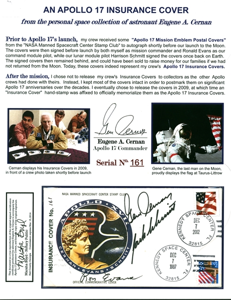 Gene Cernan's ULTRA-RARE Apollo 17 Crew-Signed Personal Insurance Cover - One of Only 500! (Beckett/BAS Guaranteed)