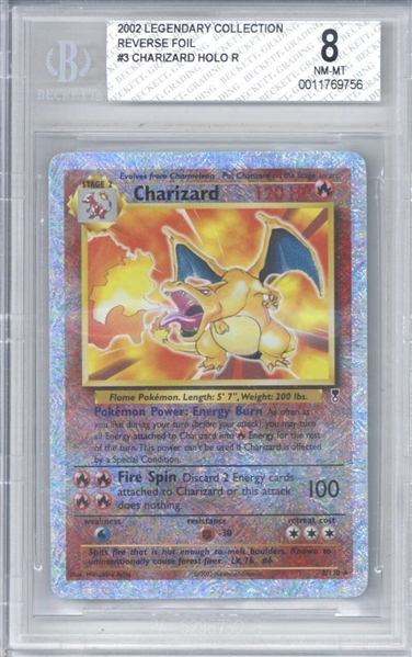 Charizard 2002 Pokemon Legendary Collection Reverse Foil Trading Card (Beckett/BGS Graded NM-MT 8)