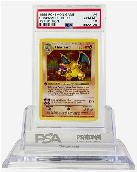Pokemon's Crown Jewel: Charizard First Edition 1999 Pokemon Game #4 Holographic Trading Card - PSA GEM MINT 10!
