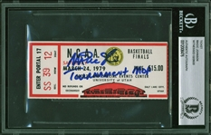 "Magic Johnson Signed 1979 NCAA Tournament Ticket (3/24/1979) with ""Tournament MOP"" Inscription (Beckett/BAS Encapsulated)"