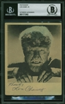 "Lon Chaney Jr. ULTRA-RARE Signed ""The Wolf Man"" 4"" x 5"" Sepia Tone Photograph (Beckett/BAS Encapsulated)"
