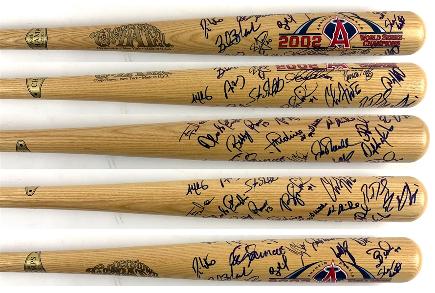 2002 Anaheim Angels Team Signed 2002 World Series Cooperstown Bat Co. Commemrative Bat with 25+ Signatures (Beckett/BAS LOA)