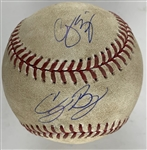 Dodger Stars: Cody Bellinger & Corey Seager Dual Signed 2017 Game Used Ball :: Multi HRs for Both That Game! (PSA/DNA & MLB Holo)
