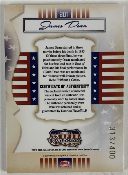 2008 Donruss Americana Limited Edition (313/400) Swatch Card with Dean Sweater Swatch
