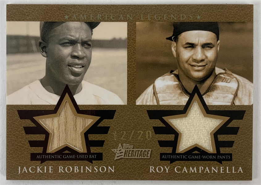 2009 Topps Heritage Jackie Robinson & Roy Campanella Ltd Ed (12/20) Game Used Bat & Jersey Swatch Card