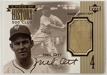 1999 Upper Deck Mel Ott A Piece of History Card with Game Used Bat Segment