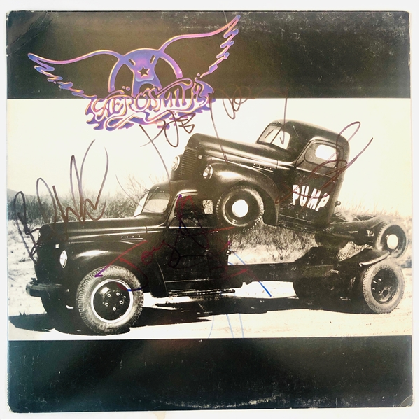 Aerosmith Group Signed Pump Record Album (5 Sigs)(John Brennan Collection)(Beckett/BAS Guaranteed)