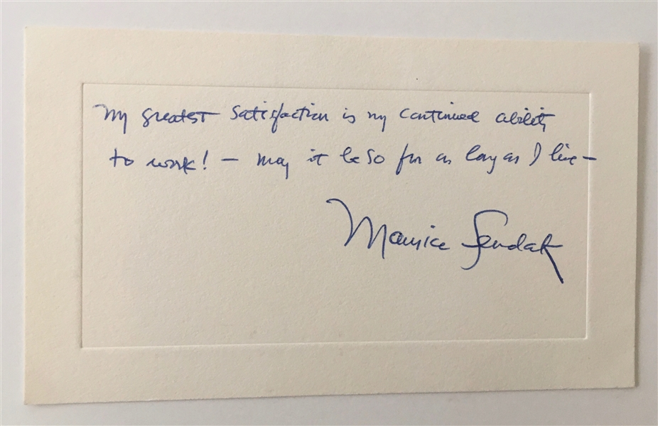 Maurice Sendak Handwritten & Signed Note on 4 x 6 Card (Beckett/BAS LOA)