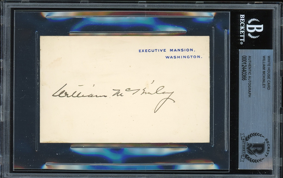 President William McKinley Signed Executive Mansion Card (Beckett/BAS Encapsulated)