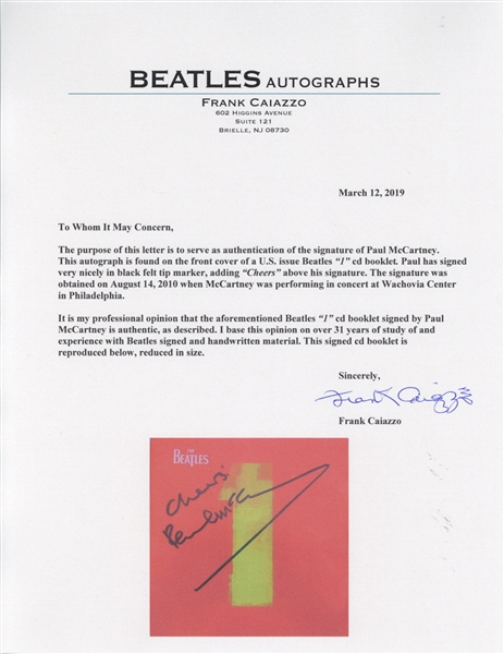 The Beatles: Paul McCartney Signed 1 CD Booklet (Caiazzo)