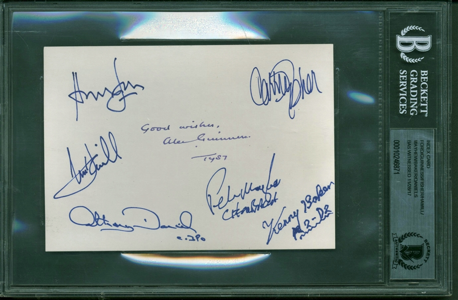 Rebel Alliance: Alec Guinness, Harrison Ford, Carrie Fisher & Others Near-Mint Multi-Signed 3.5 x 5.5 Index Card (Beckett/BAS Encapsulated)