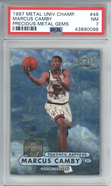 PMG: Marcus Camby 1997 Metal Universe Champions /50 Precious Metal Gems #48 Card (PSA Graded NM 7)