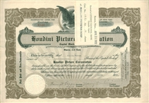 Harry Houdini Signed 1922 Houdini Picture Corporation Stock Certificate (Beckett/BAS)