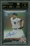 Chance Adams ULTRA-RARE Signed 2017 Bowman Chrome 10-10 Black Label BGS Rookie Card!