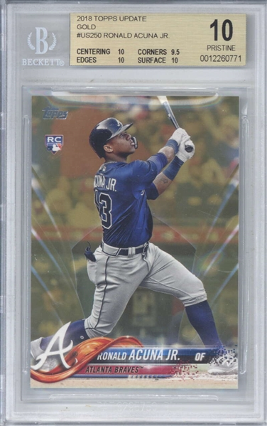 Ronald Acuna Jr. 2018 Topps Update Gold #US250 Rookie Card (Beckett/BGS Graded PRISTINE 10)