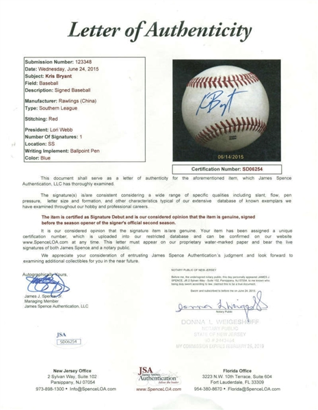 Kris Bryant Signed Pre-Rookie Game Used Southern League Baseball (JSA)