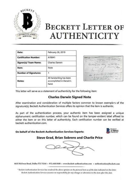 Charles Darwin Signed & Handwritten 7 x 5 Note Requesting Books for Research! (Beckett/BAS)
