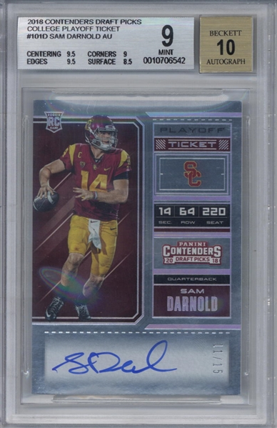 Sam Darnold Signed 2018 Panini Contenders Draft Picks College Playoff Ticket Rookie Card - Beckett/BGS 9 Card, 10 Auto!
