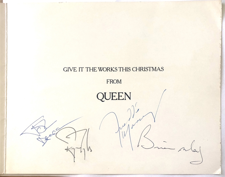 Queen RARE Band Signed 1984 Christmas Card with All Four Original Members! (Beckett/BAS Guaranteed)