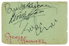"The Beatles Group Signed 3"" x 4.5"" Rubber Soul-Era Album Page w/ ULTRA-RARE Felt Tip Autographs! (Beckett/BAS & Tracks)"