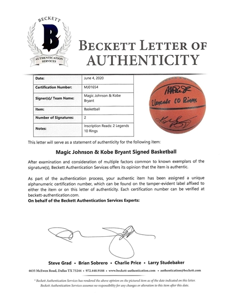 Kobe Bryant & Magic Johnson Signed Basketball w/ 2 Legends 10 Rings Inscription! (Beckett/BAS LOA)