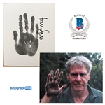 "Harrison Ford Signed 9"" x 11"" Art Board Featuring Original Hand Print :: 1 of 3 Known to Exist! (ACOA)(Beckett/BAS Guaranteed)"