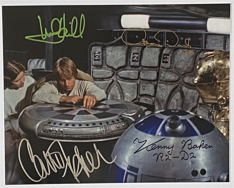 "Star Wars: Mark Hamill, Carrie Fisher, Anthony Daniels, and Kenny Baker 10"" x 8"" Signed Photo from ""A New Hope"""