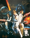 "Star Wars Cast Signed 11"" x 14"" Color Photo with Ford, Hamill, Fisher, etc. (7 Sigs)(Beckett/BAS LOA)"