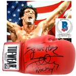 "Rocky: Sylvester Stallone Superb Signed Boxing Glove w/ ""Rocky"" Inscription (Beckett/BAS LOA)"