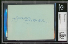 "The Beatles: George Harrison Signed 3.75"" x 5"" Vintage Album Page (Beckett/BAS Encapsulated)"