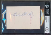 "Dr. Martin Luther King Jr. Signed 4"" x 6"" Religious Card with MINT 9 Autograph (Beckett/BAS Encapsulated)"