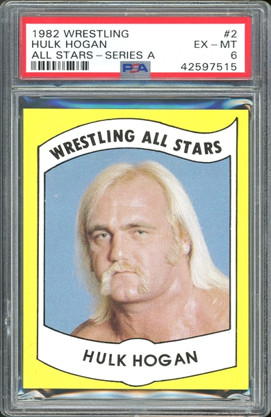 1982 Wrestling All-Stars Series A Hulk Hogan #2 Rookie Card - PSA Graded NM 7