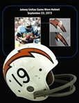1973 Johnny Unitas Game Worn & Signed San Diego Chargers Helmet :: Photomatched to 9/23/73 Game vs. Buffalo Bills :: Final NFL Win as a Starter! (Resolution Photomatching LOA)