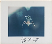 "Apollo 11 Crew Signed Eagle Descent 16"" x 20"" Color Photo Display :: Perhaps The Largest & Finest Extent! (Beckett/BAS LOA & Zarelli LOA)"