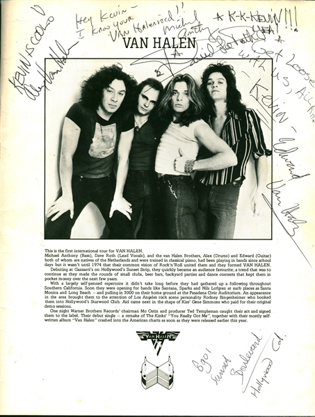 Van Halen RARE Early Signed 1978 Black Sabbath 10th Anniversary Official Program (Beckett/BAS Guaranteed)