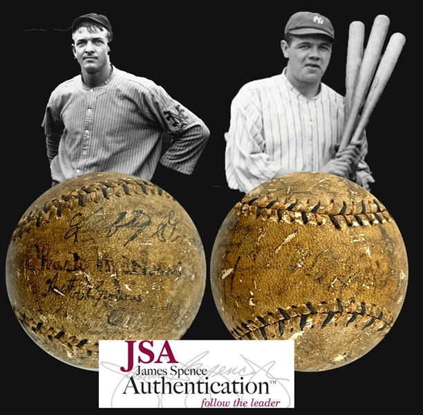 MLB Immortals ULTRA-RARE Multi-Signed ONL Baseball with Christy Mathewson, Babe Ruth, Foxx, Simmons, Ruth, Grove, Speaker & More! (JSA)