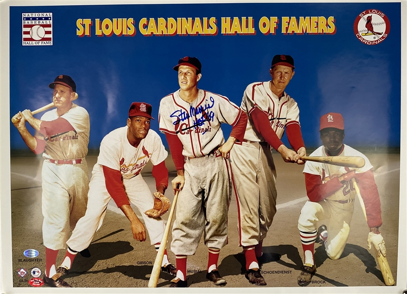 Stan Musial Signed 20 x 15 Poster (Beckett/BAS Guaranteed)