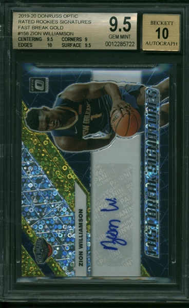 Zion Williamson ULTRA-RARE 2019-20 Donruss Optic Rated Rookies Signatures Fast Break Gold - Highest Graded BGS Example GEM MINT 9.5!