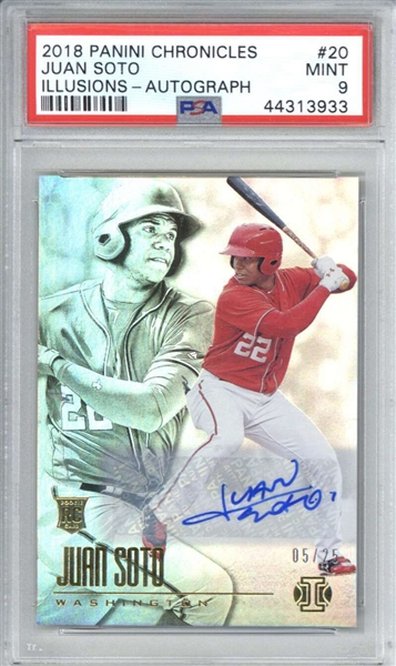 Juan Soto Signed 2018 Panini Chronicles Illusions #20 /25 Rookie Card (PSA Graded MINT 9)