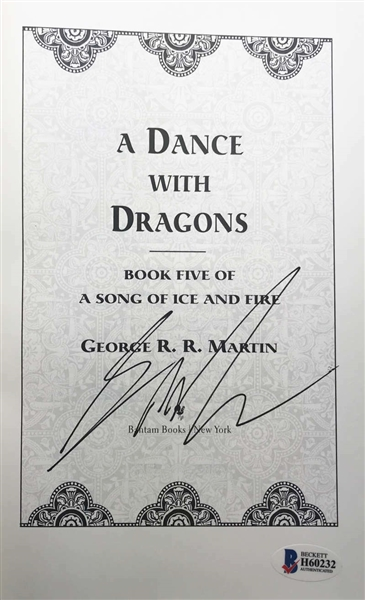 Game of Thrones: George R.R. Martin Signed A Dance With Dragons Soft Cover Book (Beckett/BAS)